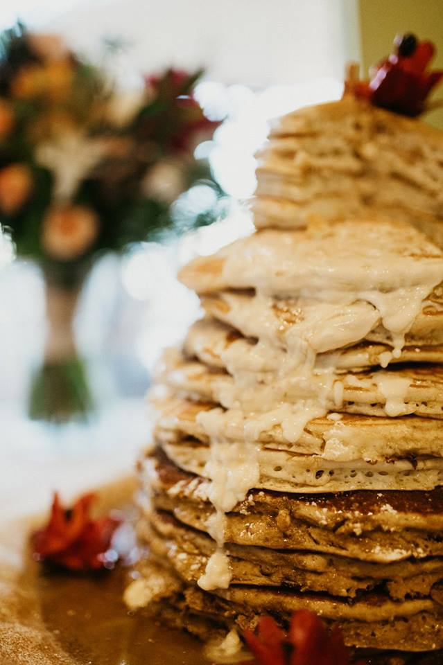 Pancake Wedding Cake with Syrup for Autumn Wedding Reception