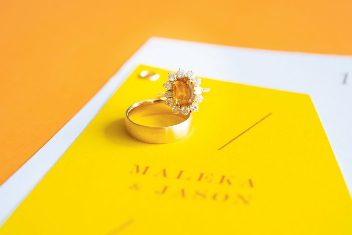 Sapphire Engagement Ring on Yellow Wedding Invitations