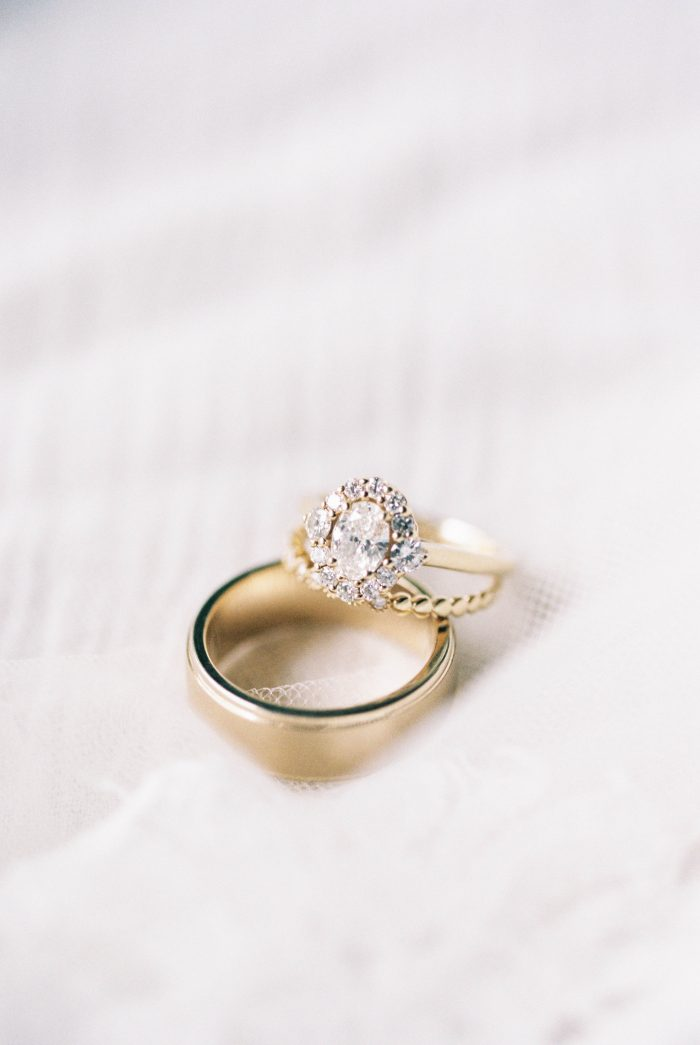 Diamond Engagement Ring with Gold Wedding Band