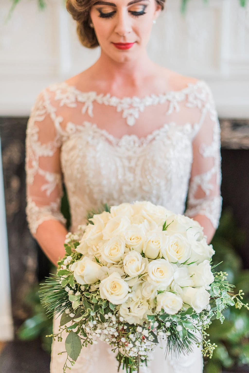 Winter-Wonderland Wedding Infused with Southern Charm: Maggie Bride wearing Verina by Maggie Sottero.