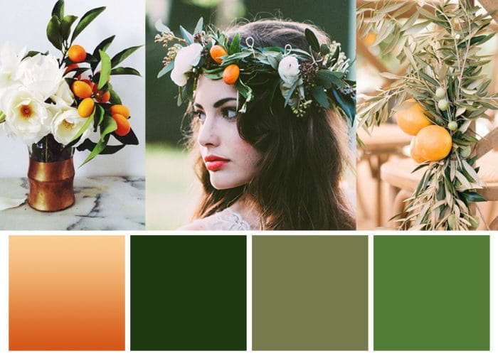 Winter Wedding Color Palette Featuring Greenery and Citrus