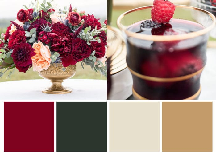 Cranberry, Emerald, and Gold Winter Wedding Color Palette