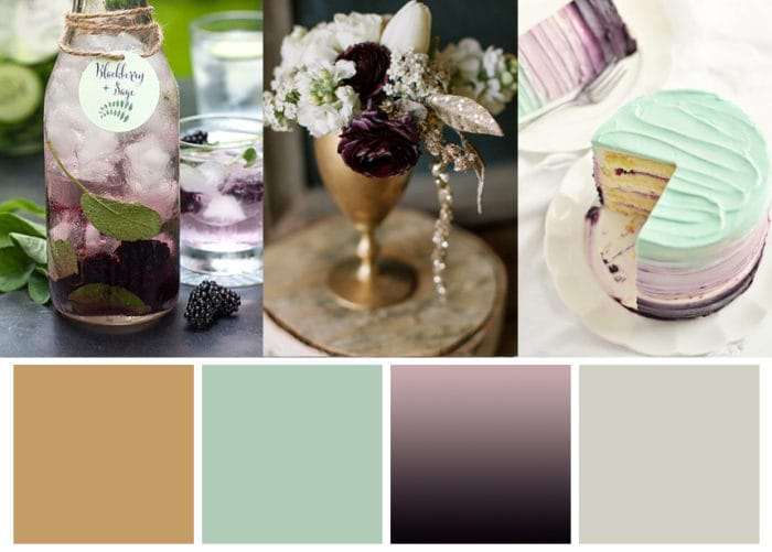 Mint Blackberry and Gold Winter Wedding Palette with Cake and Table Settings