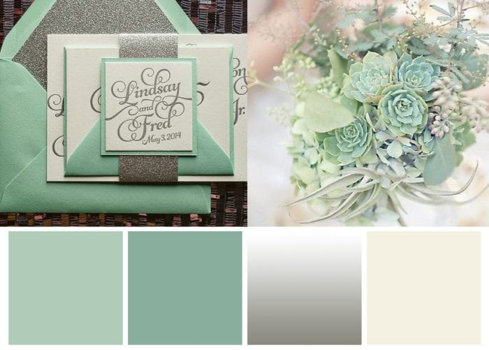 Color Scheme Featuring Winter Mint, Silver, and Eggshell with Mint Bouquet