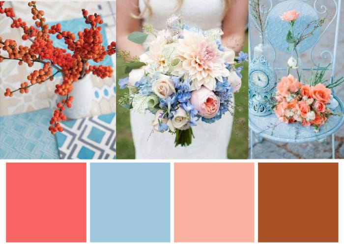 Florals and Blue Wedding Cake in Ochre, Sky Blue, and Coral Winter Color Scheme