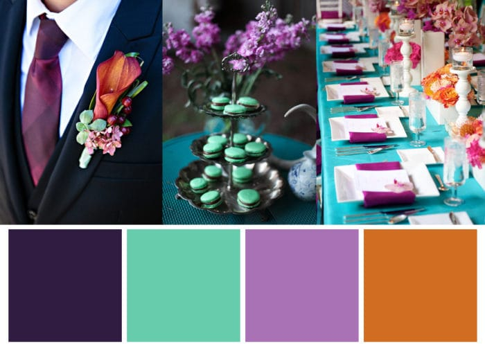 Ochre Teal and Purple Winter Wedding Color Palette