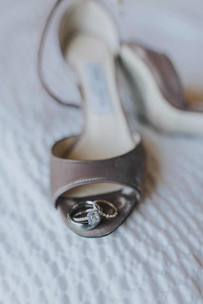 Engagement Ring and Wedding Band in Open Toe Bridal Shoe