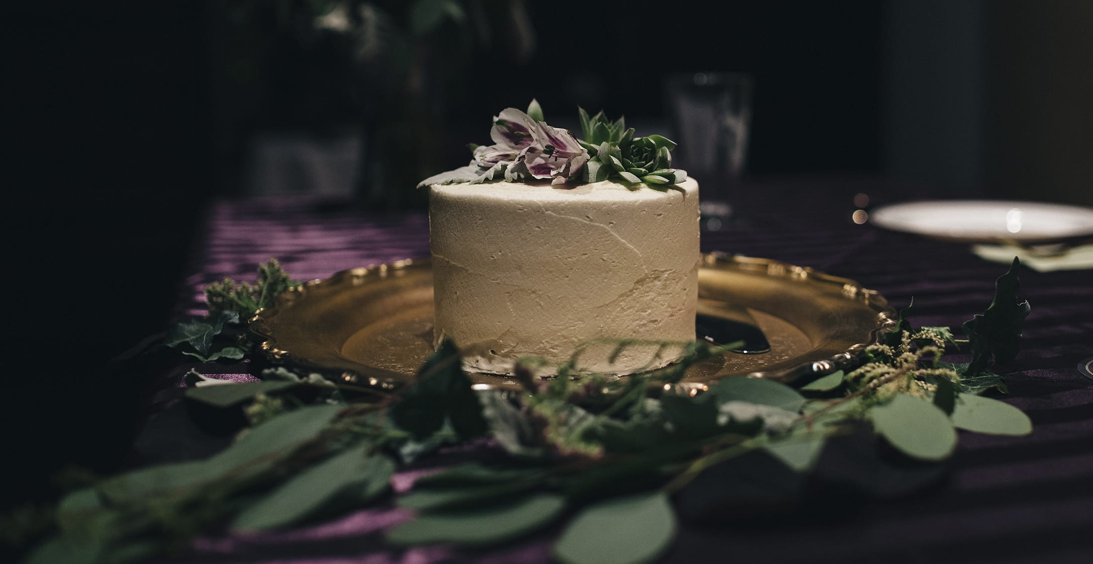 White Wedding Cake with Winter Wedding Color Palette of Green and Lavender