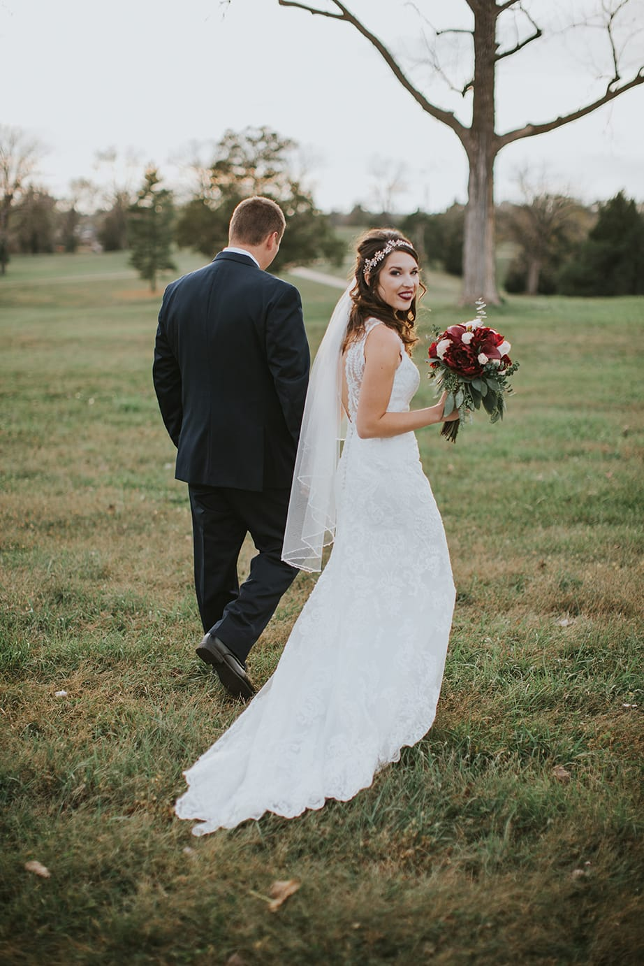 Fall Wedding with Retro-Modern Details - Midgley Bride is wearing Winifred by Sottero and Midgley