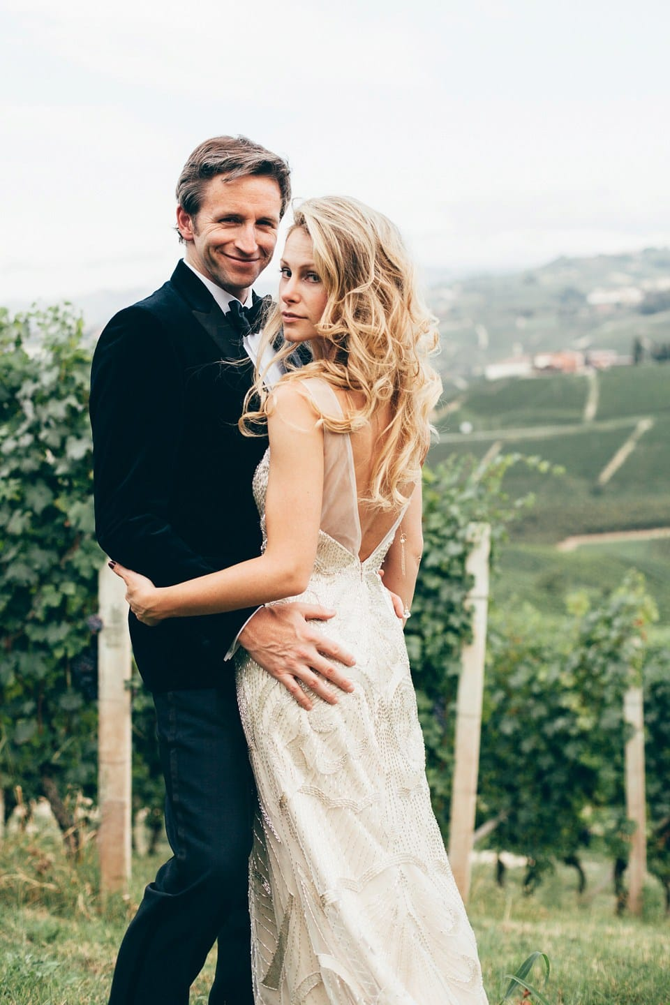 6caf04abf92 Super-Cool Italian Wedding with Vintage-Inspired Gown - Maggie Bride is  wearing Gianna ...