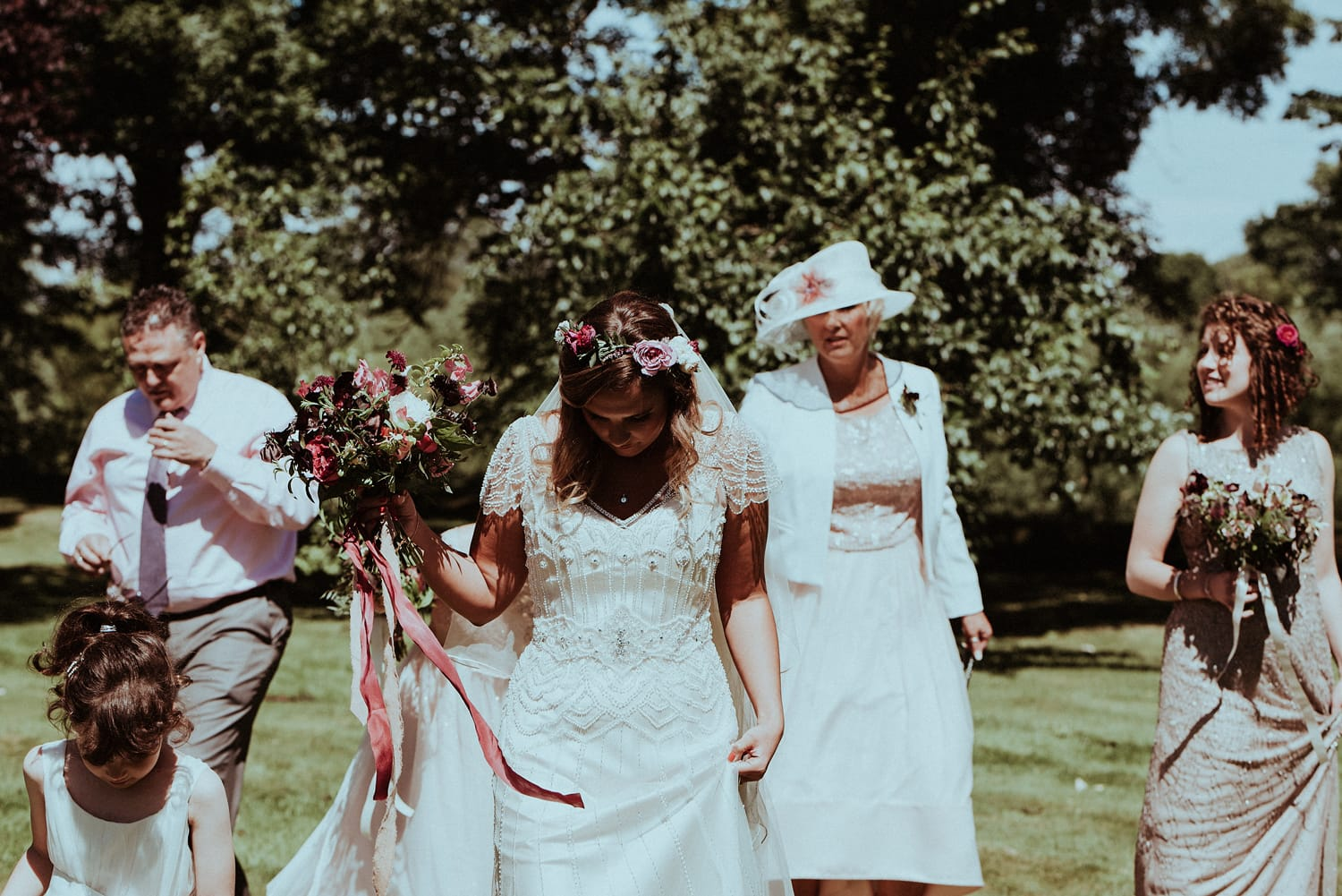 Sunny and Vintage-Inspired Wedding in Medieval Ruins - Maggie Bride Verity wearing Ettia by Maggie Sottero
