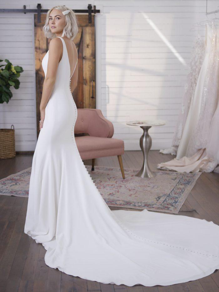Model Wearing Beach Crepe Wedding Dress Called Fernanda by Maggie Sottero