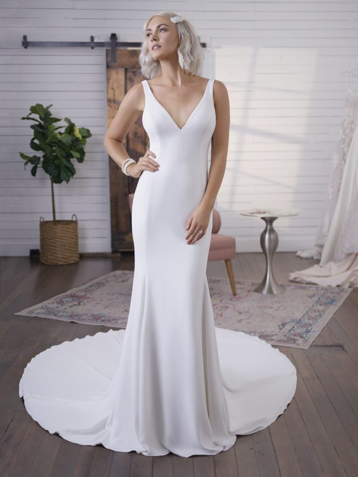Model Wearing Simple Crepe Wedding Dress Called Fernanda by Maggie Sottero