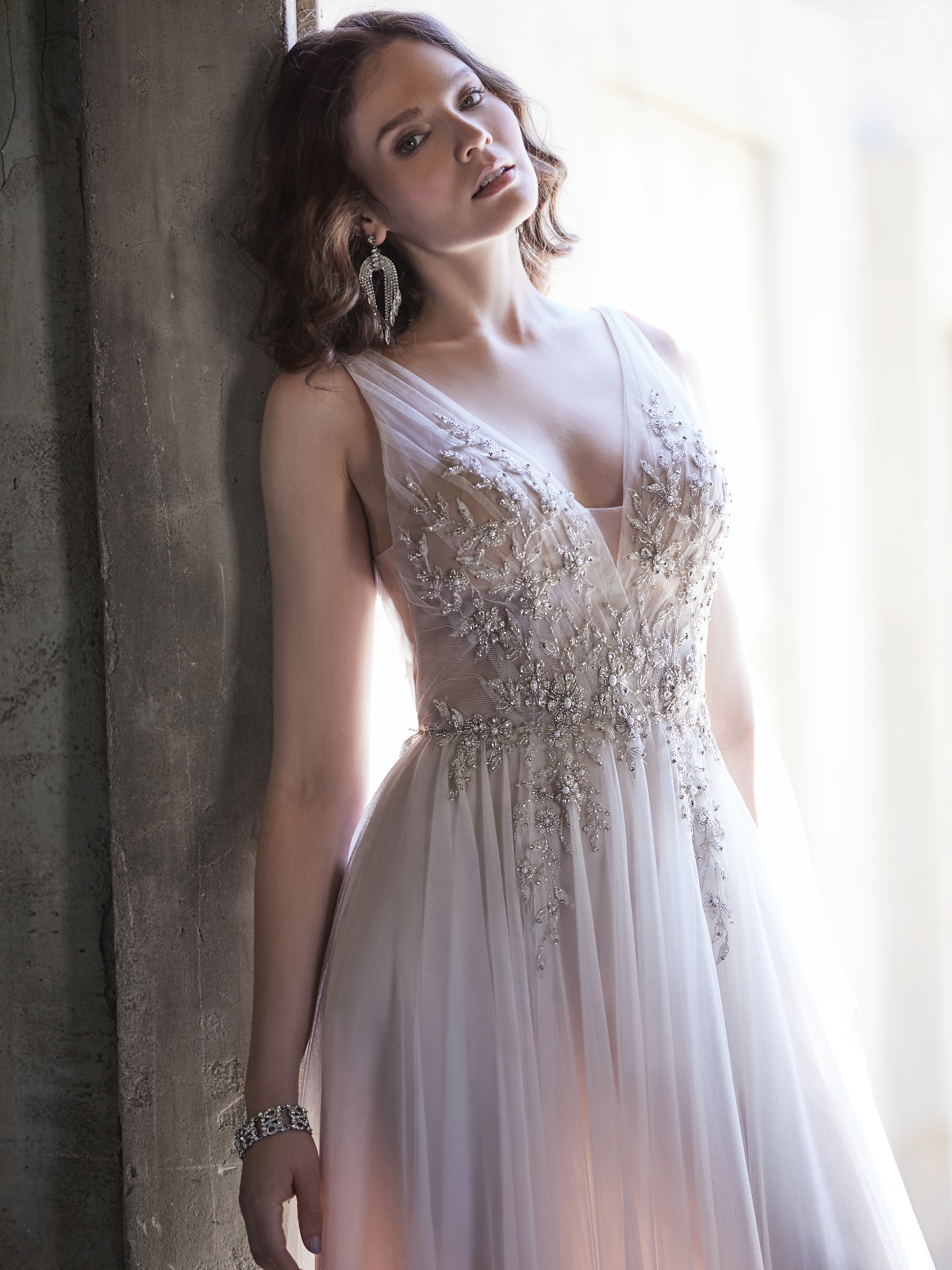 Model Wearing Tulle A-line Bridal Gown Called Meletta by Maggie Sottero