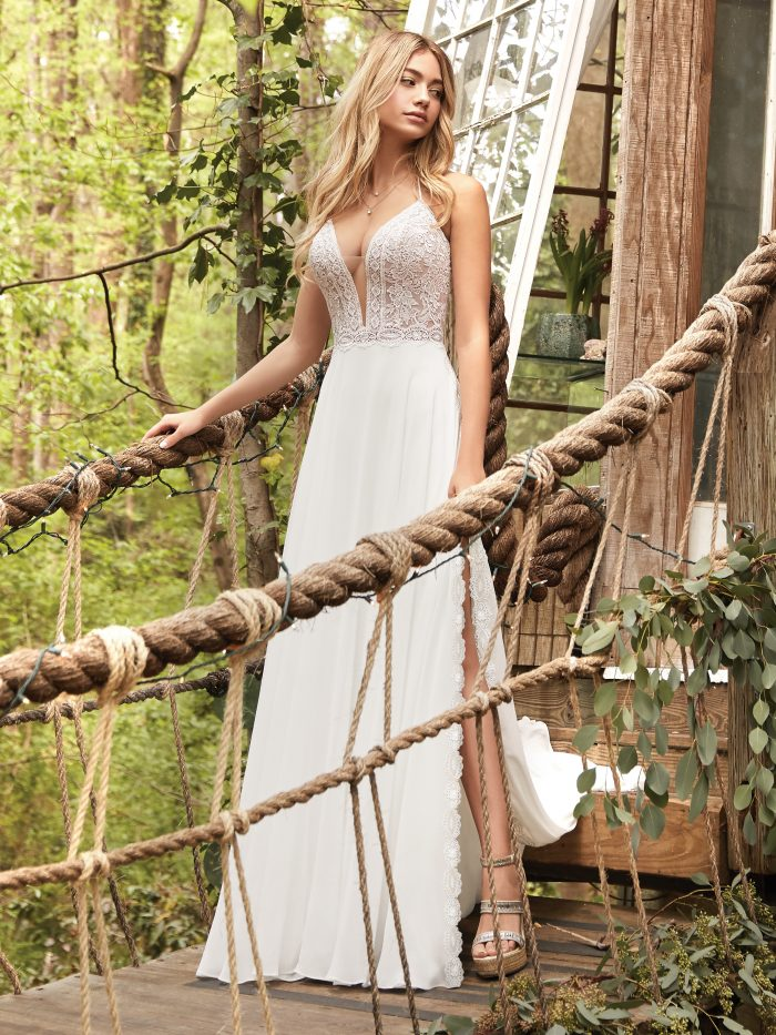 Bride Wearing A-line Chiffon Beach Wedding Dress Called Nicole by Rebecca Ingram
