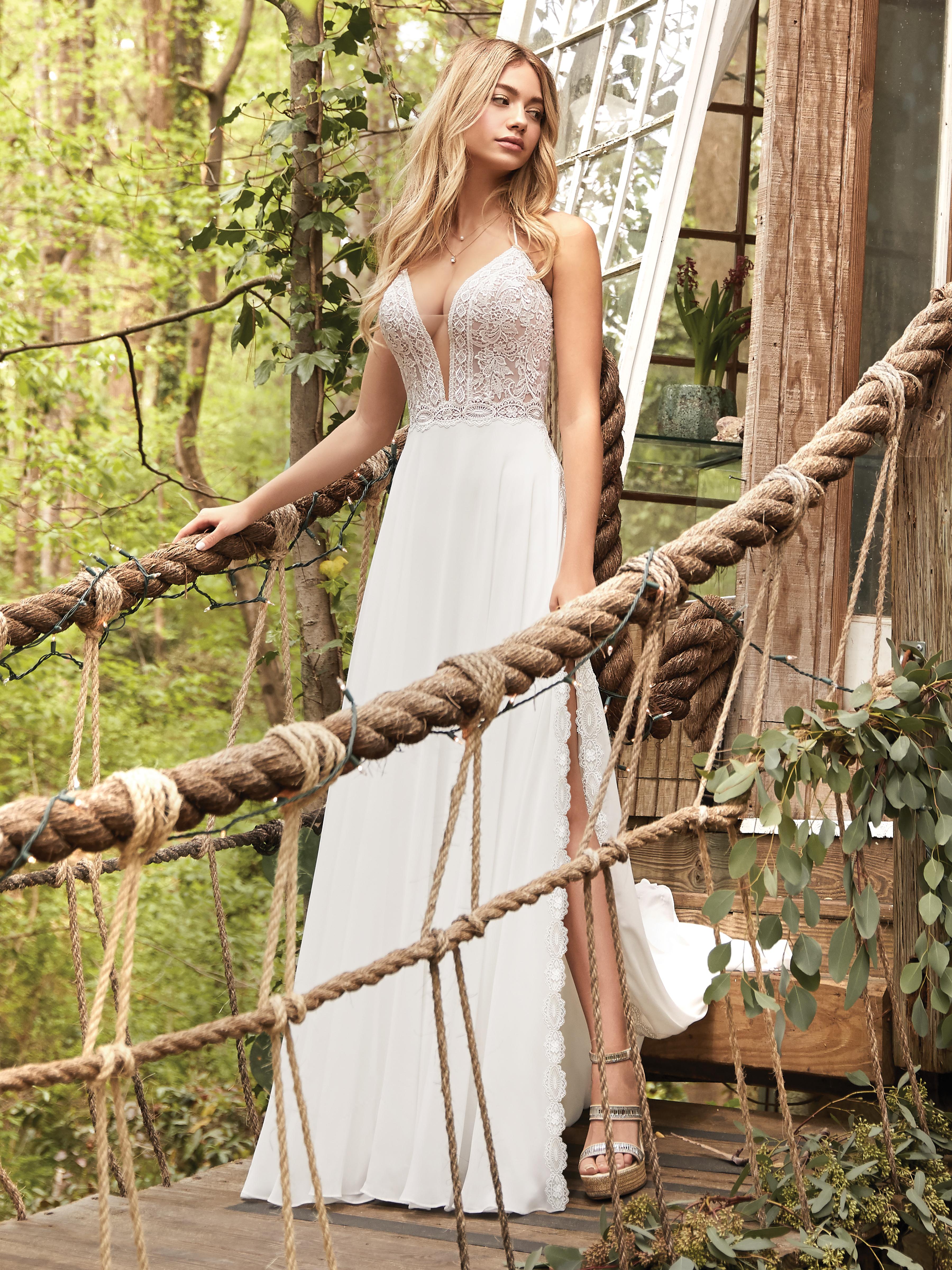 Bride Wearing A-line Chiffon Wedding Dress Called Nicole by Rebecca Ingram