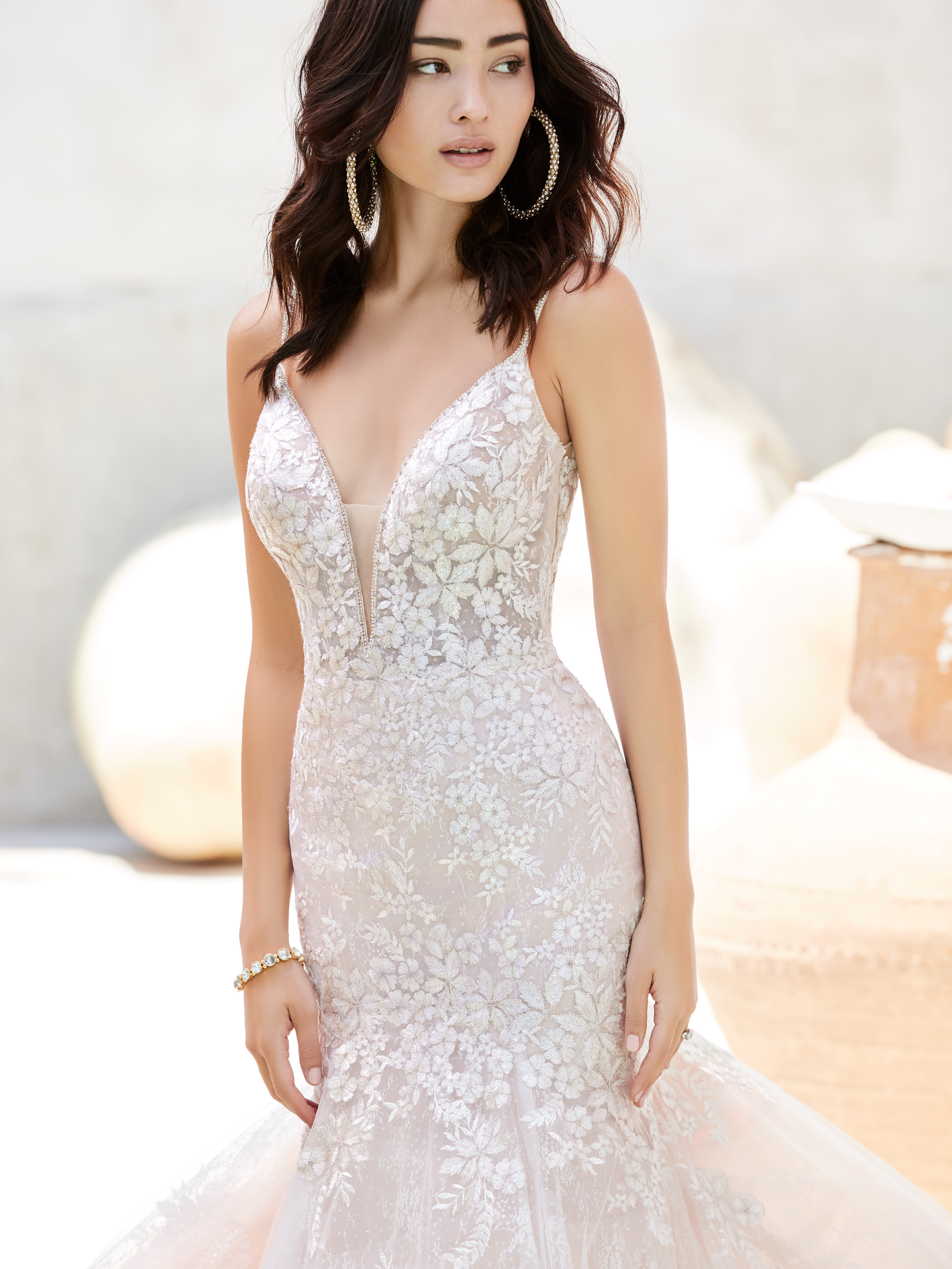 Model Wearing Mermaid Beach Wedding Dress Called Inga by Sottero and Midgley