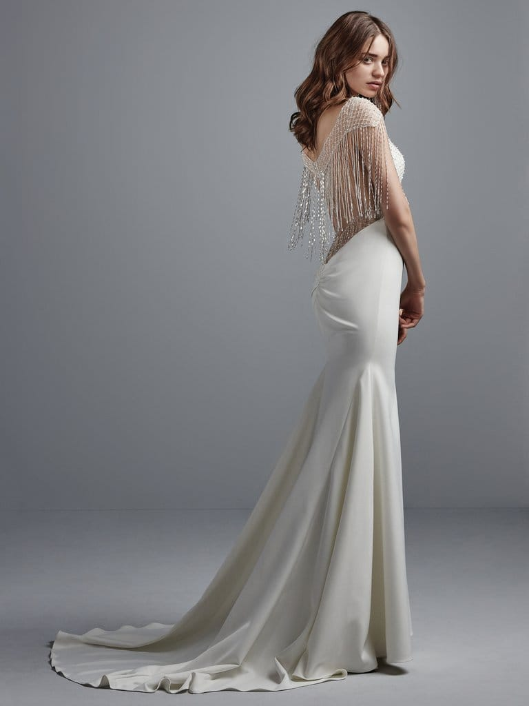 Lightweight Gatsby Gowns for a Summer Wedding - Get the West-Egg party started with this chic satin fit-and-flare featuring beaded-fringe details. Liam wedding dress by Sottero and Midgley