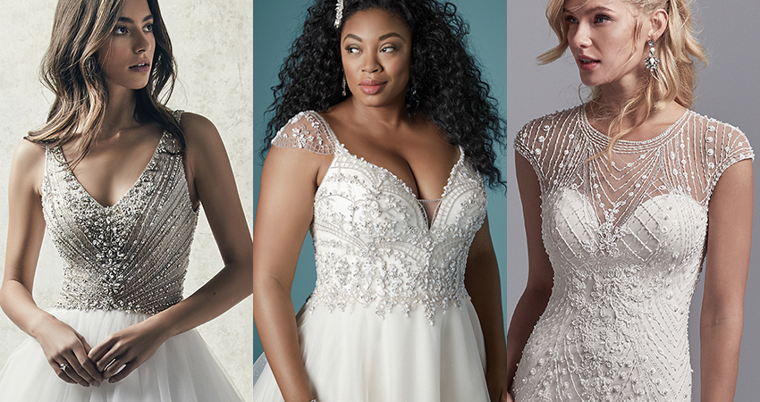 Collage of Models Wearing Lightweight Gatsby-inspired Wedding Dresses by Maggie Sottero