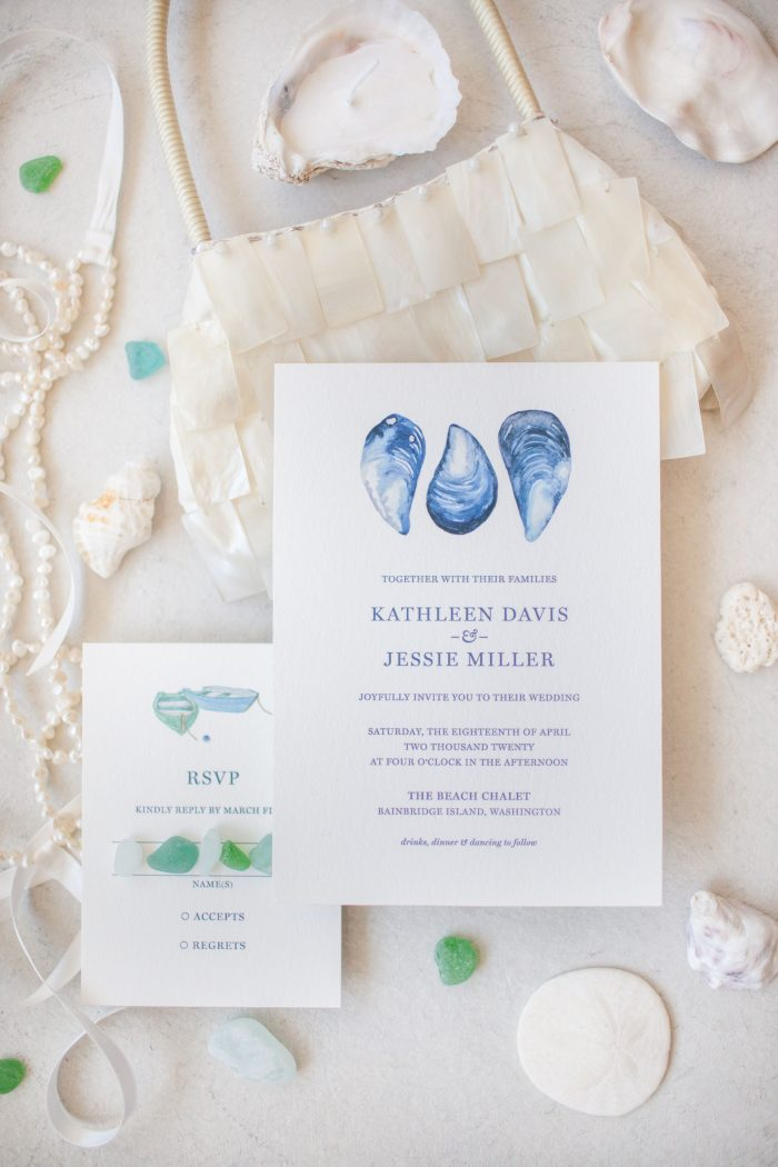 Seashell and Ocean-inspired Wedding Invitations