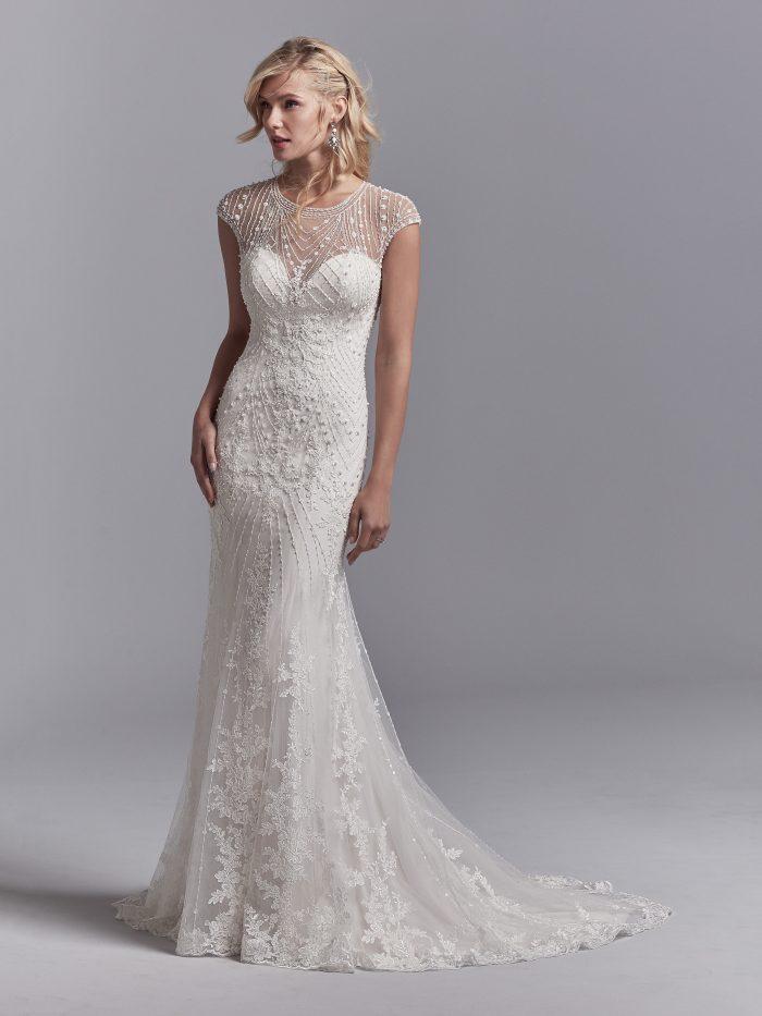 Sottero and Midgley Grady geometric beaded wedding dress back view
