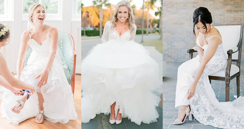 Collage of Real Brides Wearing Wedding Dresses by Maggie Sottero with Matching Wedding Shoes