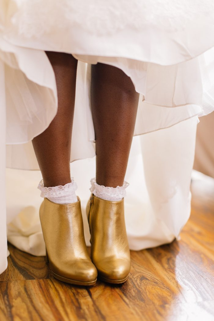 Real Bride Wearing Gold Ankle Boots at Real Wedding