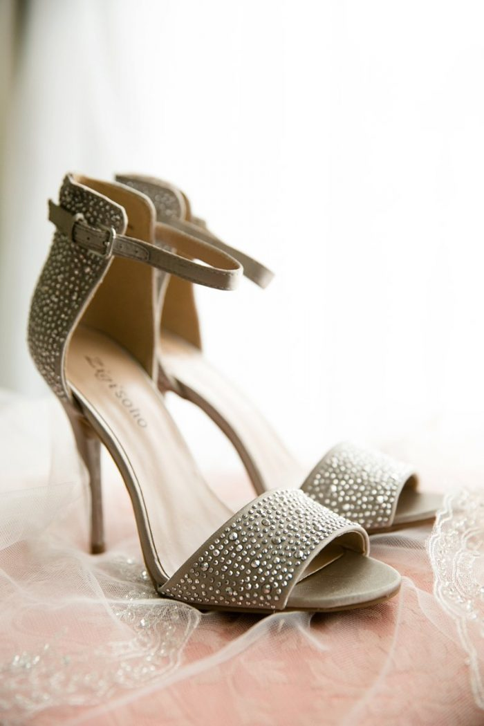 Open Toed Strappy Heels with Rhinestones