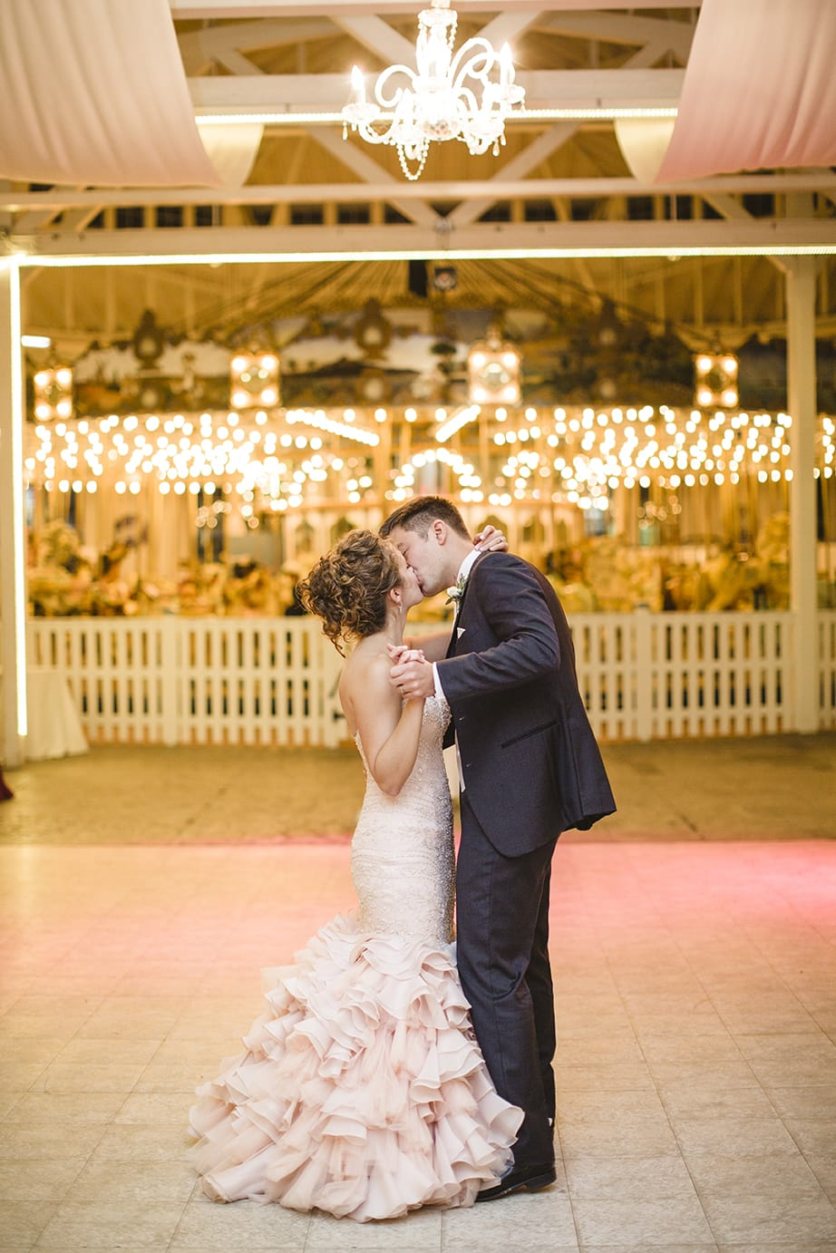 Blush Wedding Dress at Carnival-Themed Wedding - Maggie Bride wearing Serencia by Maggie Sottero