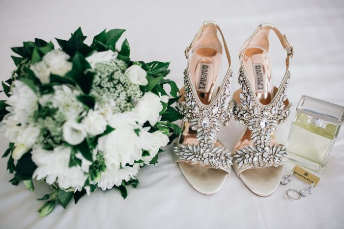 Bedazzled Wedding Shoes with Crystals and Straps