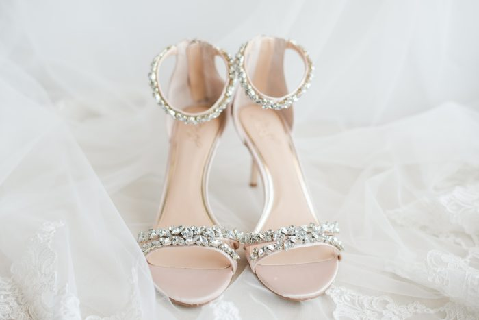 Open Toed Bridal Shoes with Thin Diamond Straps