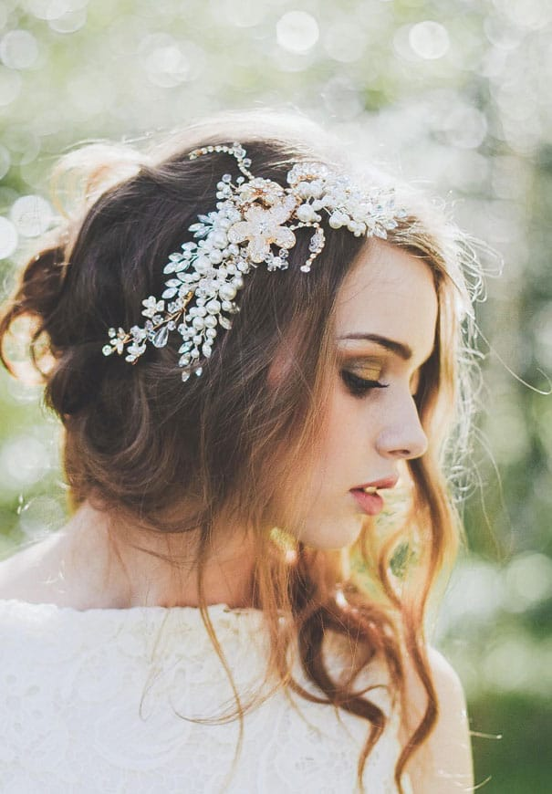 Shimmery headpiece bridal accessory