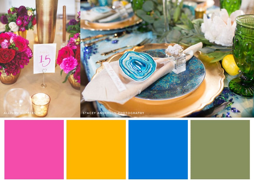 7 Palettes for a Summer Wedding - Fuchsia + Goldenrod + Azure + Bay Leaf. For bright, bold, and beautiful wedding vibes.