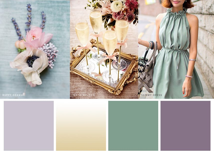 7 Palettes for a Summer Wedding - Lavender + Champagne + Dusty Green Wedding Palette inspiration from Maggie Sottero. Because love is in the air, and lavender blooms all season long.