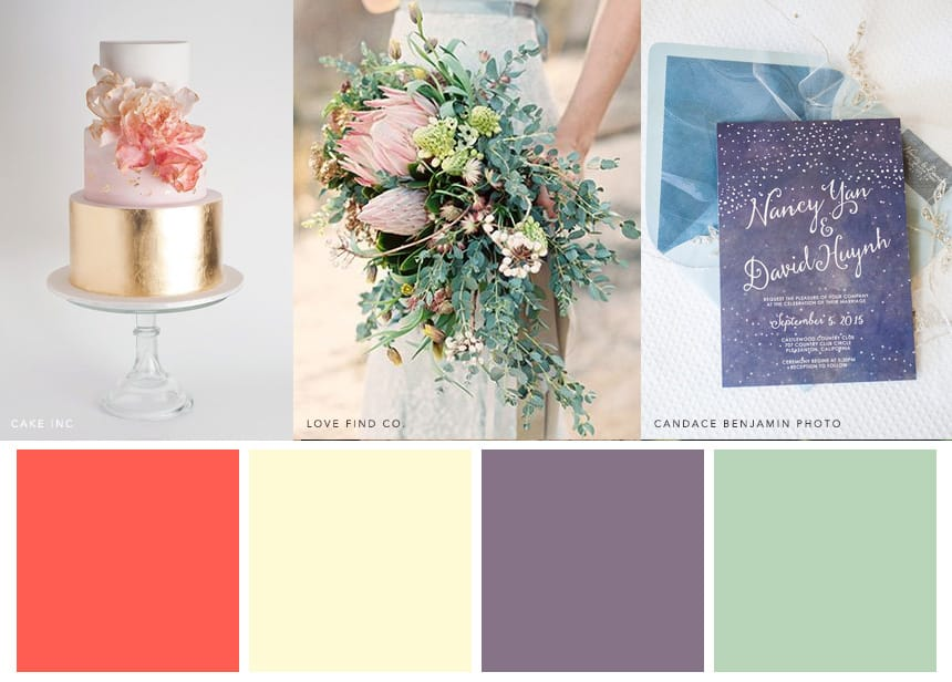 7 Palettes for a Summer Wedding - Bright Coral + Mint + Lavender + Cream. Make your bouquet light and loose to evoke wildflowers.