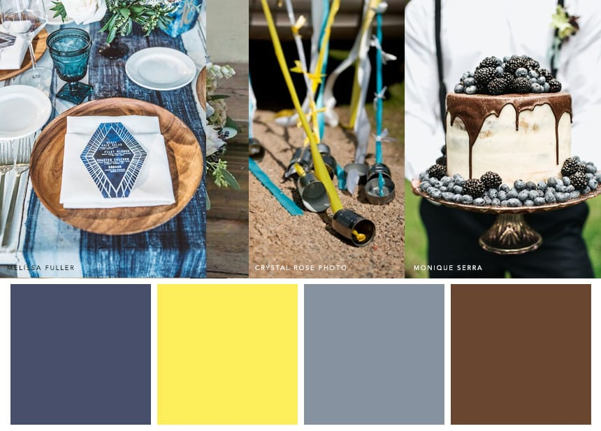 7 Palettes for a Summer Wedding - Indigo + Canary + Cocoa. Go sunny and rustic with your wedding aesthetic without looking a scrapbook.