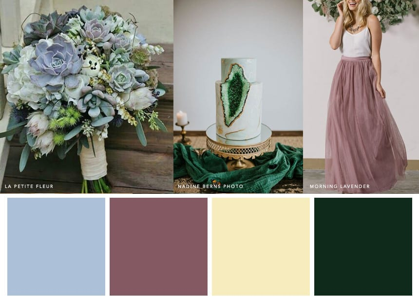 7 Palettes for a Summer Wedding - Hydrangea Blue + Mauve + Cream + Emerald. A chic and romantic wedding palette color combo for hazy-lazy afternoons.