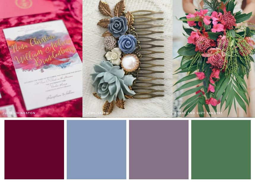 7 Palettes for a Summer Wedding - Cornflower Blue + Raspberry + Lavender + Tropical Green. These deep and intriguing wedding hues are a treat for the eye.