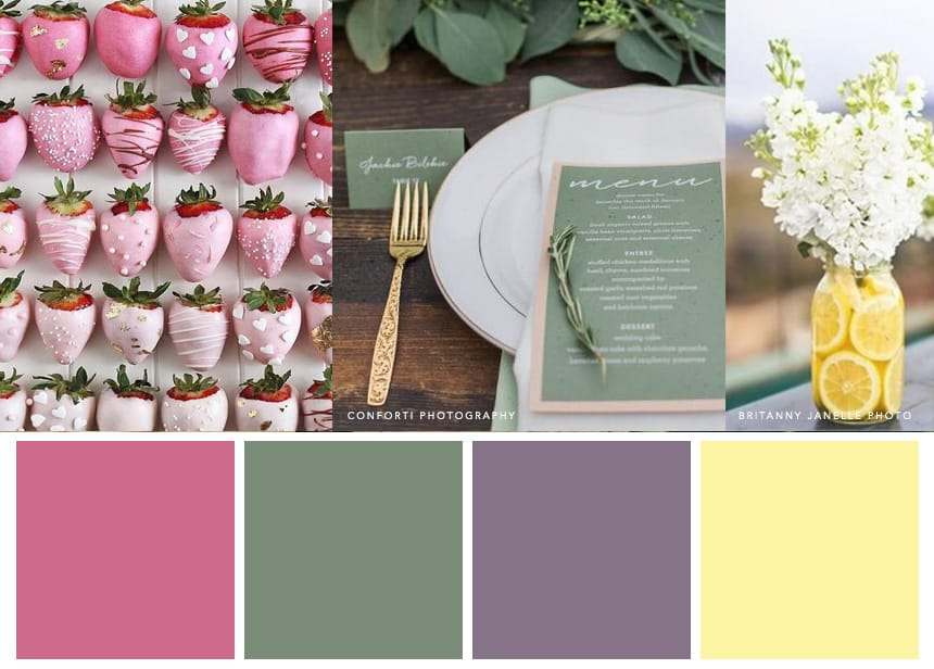 7 Palettes for a Summer Wedding - Strawberry Pink + Mauve + White + Spring Green + Sunbeam evoke a field of Cosmo blooms at golden hour.
