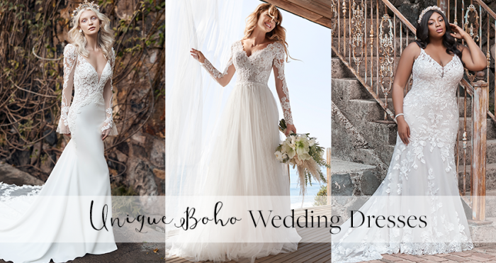 Collage of Three Models Wearing Unique Boho Wedding Dresses by the Beach