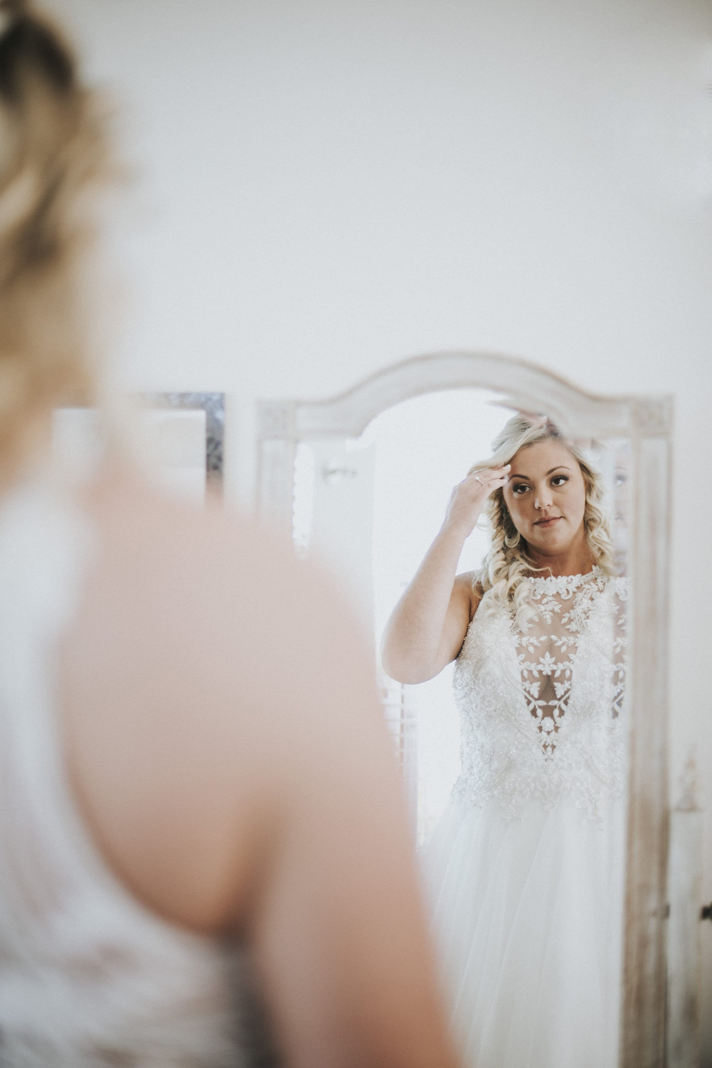 Crystal-Embellished Lace Wedding Dress in Rustic Wedding - Maggie Bride wearing Lisette by Maggie Sottero
