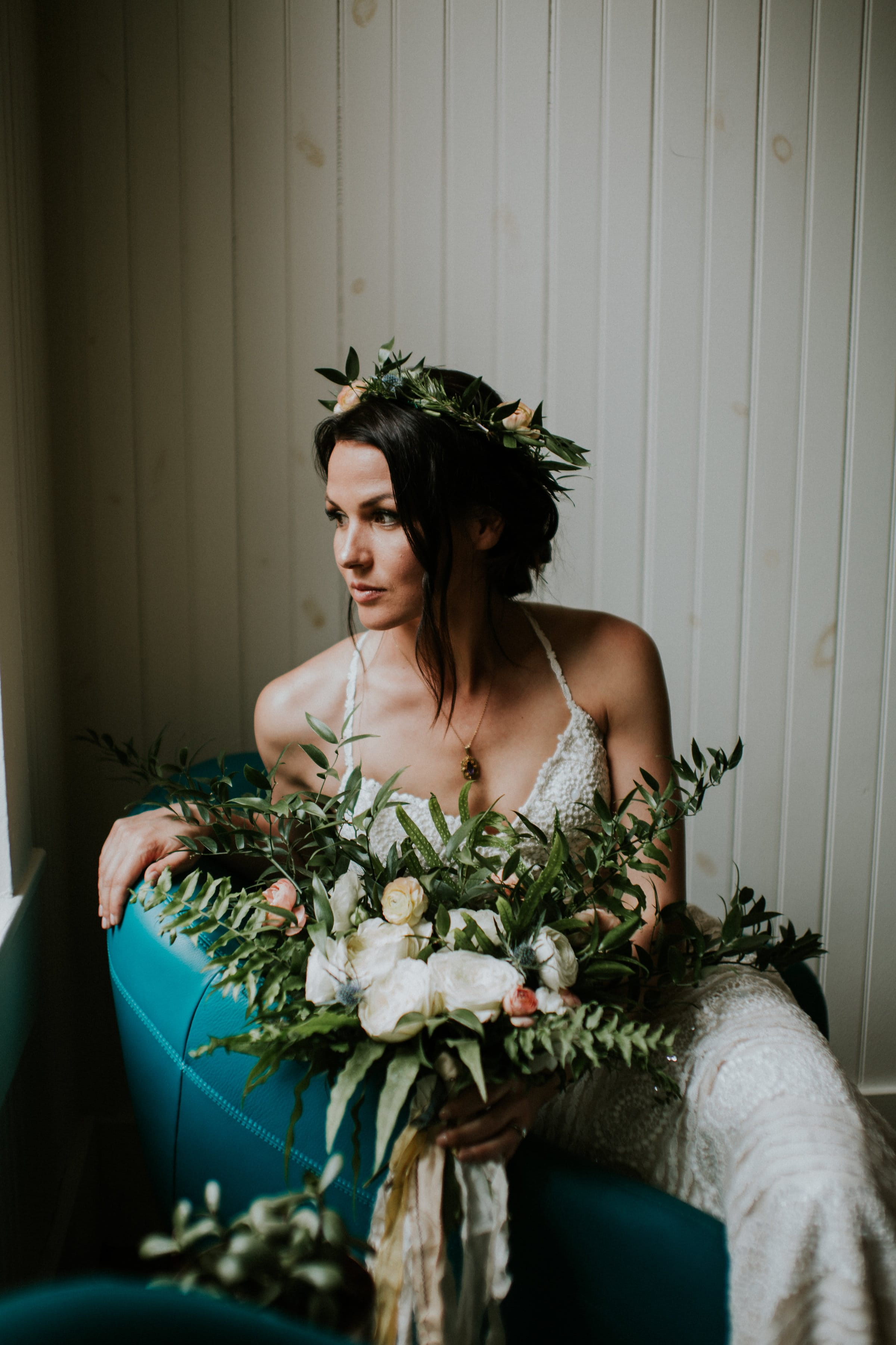 Our Favorite Boho Brides and Boho Wedding Dresses! - Midgley Bride wearing Bexley by Sottero and Midgley. We love her oversized bouquet and pink flower crown.