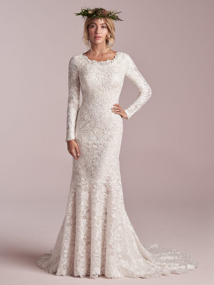 Model Wearing Modest Long Sleeve Boho Wedding Dress Called Hope Leigh by Rebecca Ingram