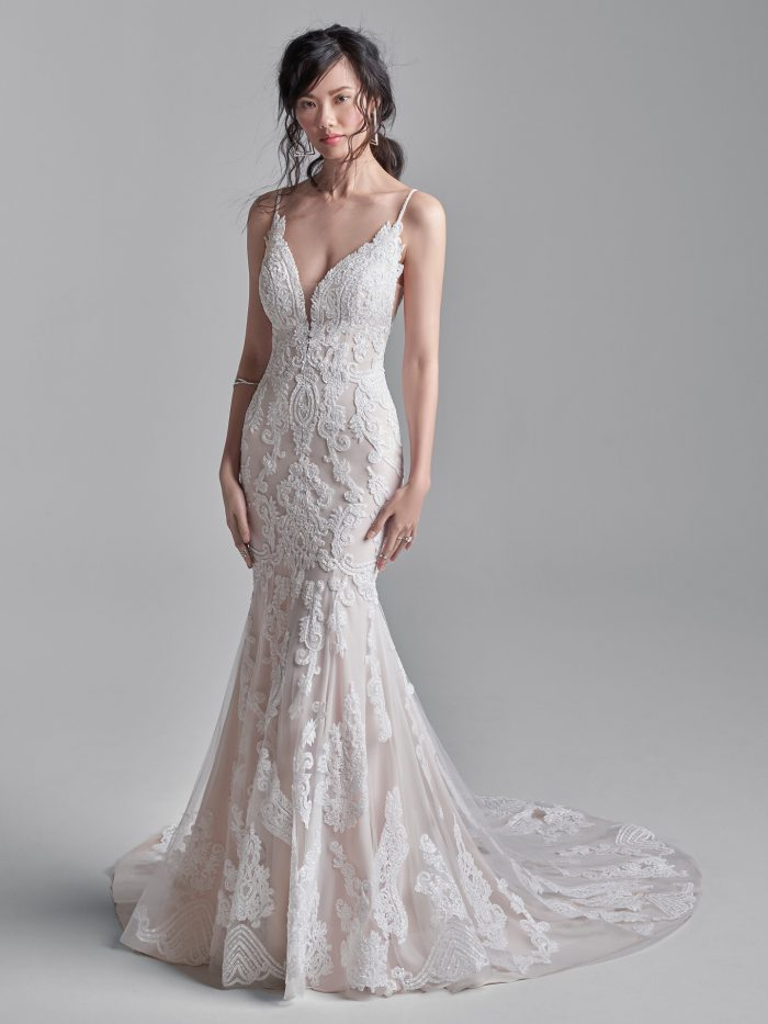 Model Wearing Sexy Sheath Bridal Gown Called Fairfax by Sottero and Migley
