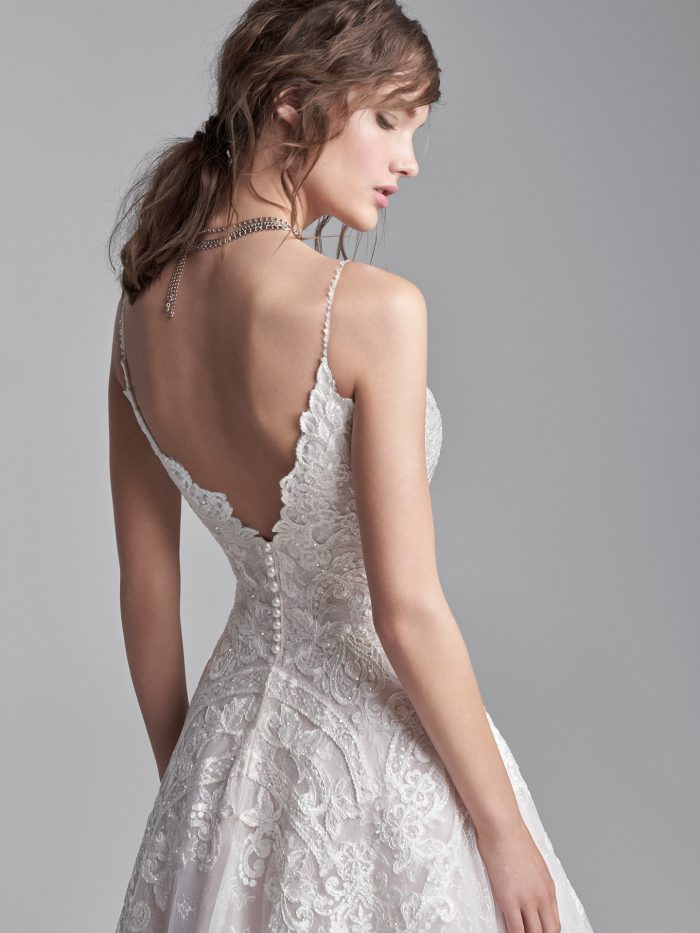 Model Wearing Unique Boho Wedding Dress Called Lancaster by Sottero and Midgley