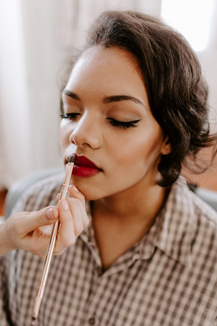Bride Getting Her Bridal Makeup Done and Lipstick for Wedding