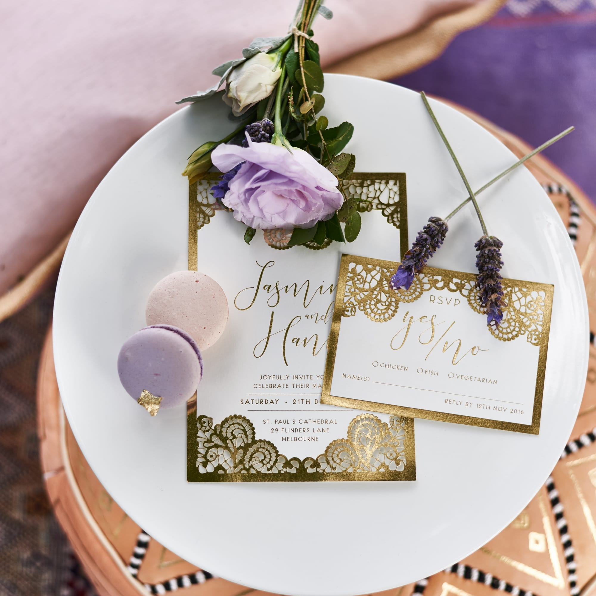 Amethyst and Lavender Styled Shoot Featuring Sleeve Wedding Dress