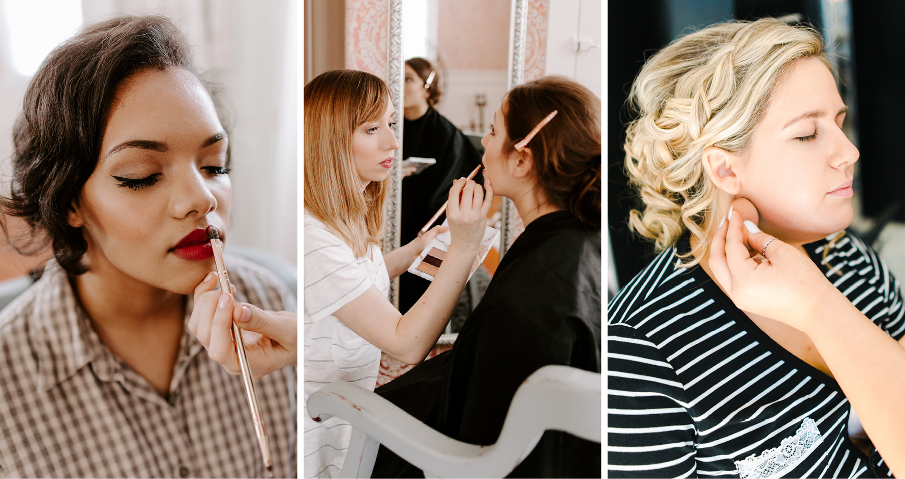Collage of Real Brides Getting Their Bridal Makeup Done For Their Weddings