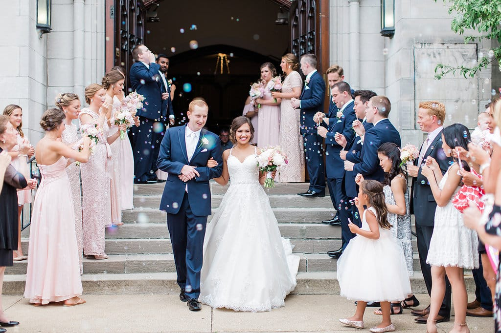 Elegant Blush Wedding with a Touch of Glam and Ballgown  - Rebecca Bride wearing Allison ballgown wedding dress by Rebecca Ingram