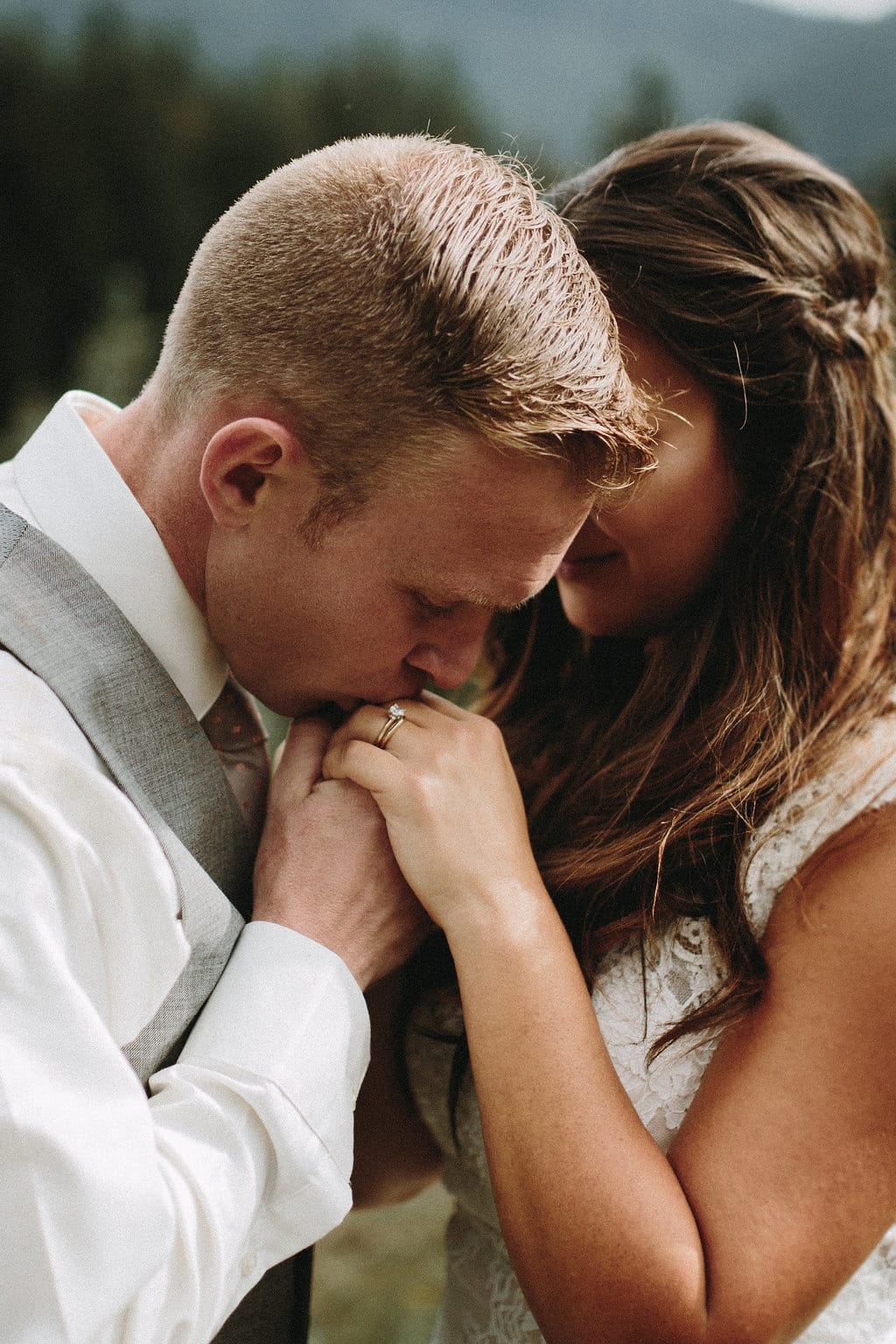 Travel-Themed Wedding Featuring Lace Wedding Dress Londyn - Maggie Bride wearing Londyn wedding dress by Maggie Sottero